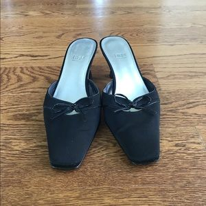 IMPO black fabric mules w/kitten heel and bow tie